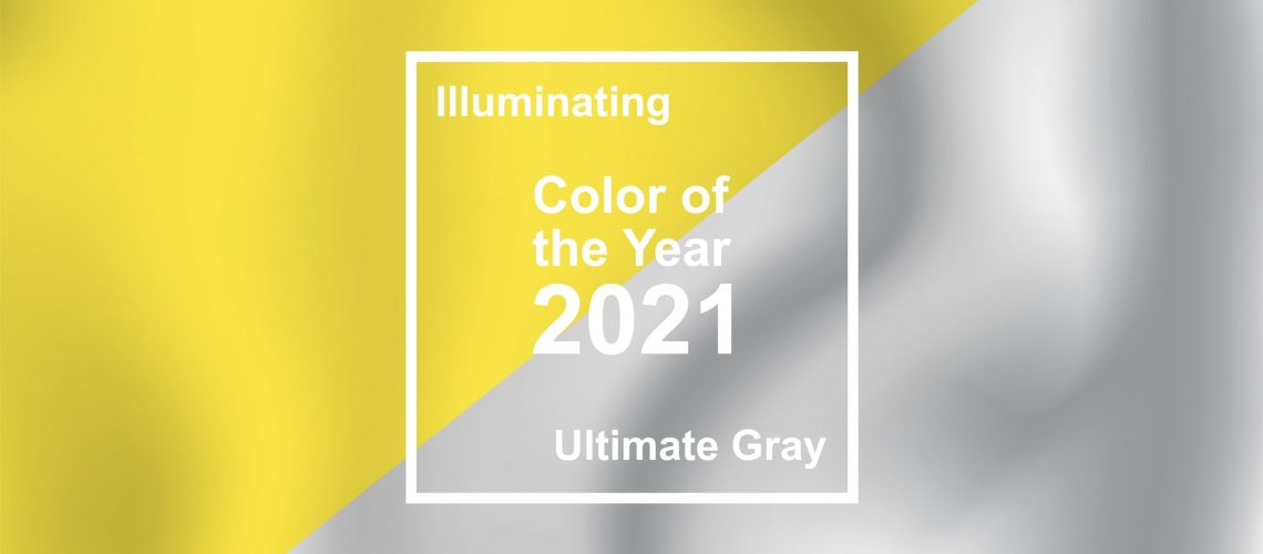 Ultimate Gray and Illuminating, textile cloth texture coloring in trend color of the year 2021 for fashion, home, interiors design, stock vector illustration clip art background